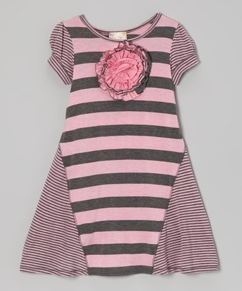 Heather Gray & Pink Stripe Rosette Dress - Toddler & Girls