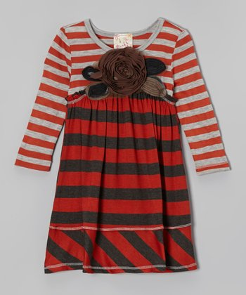 Charcoal & Rust Flower Dress - Girls