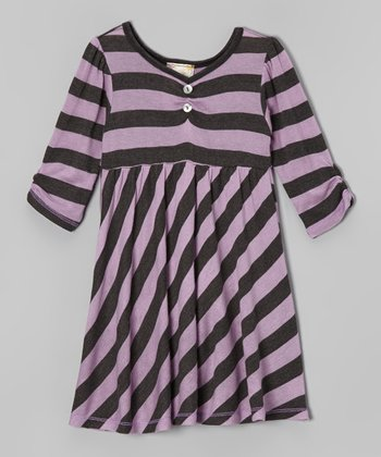 Lilac & Charcoal Stripe Dress - Girls