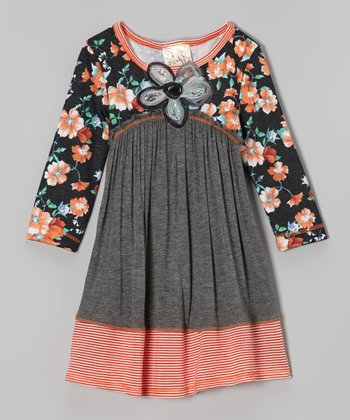 Charcoal & Orange Floral Dress - Girls