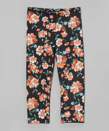 Orange Floral Leggings - Girls