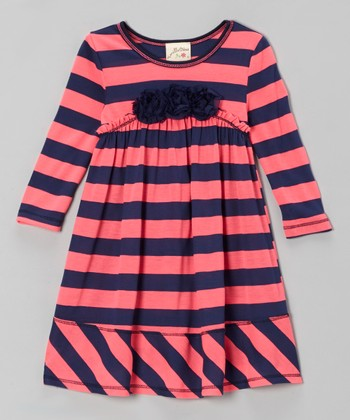 Coral & Navy Stripe Rosette Empire-Waist Dress - Girls