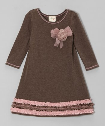 Cocoa & Pink Ruffle Dress - Toddler