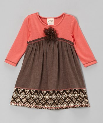 Brown & Coral Flower Empire-Waist Dress - Girls