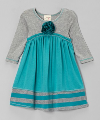 Jade & Heather Gray Empire-Waist Dress - Girls