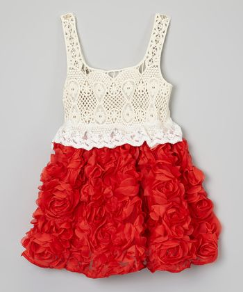 Red Crocheted Rose Dress - Toddler & Girls