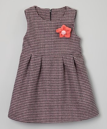 Pink & Brown Houndstooth Dress - Toddler & Girls