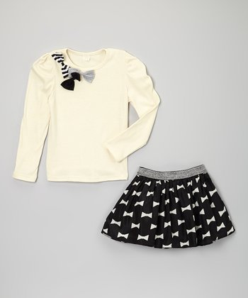 White Bow Top & Skirt - Toddler & Girls