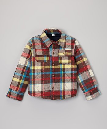 Red Plaid Quilted Shirt - Toddler & Boys