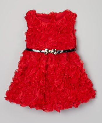 Red Rose Ruffle Belted Dress - Toddler & Girls