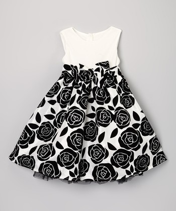White & Black Rose Dress - Infant