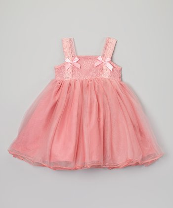 Dark Pink Lace Chiffon Dress - Infant & Toddler
