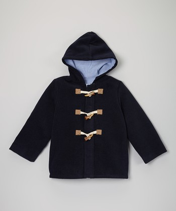 Navy Hooded Toggle Peacoat - Toddler & Boys