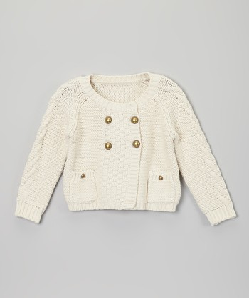 Ivory Four-Button Sweater - Toddler & Girls