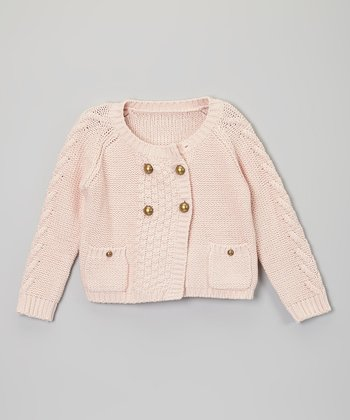 Pink Four-Button Sweater - Toddler & Girls