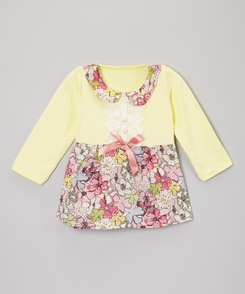 Yellow Floral Babydoll Dress - Infant
