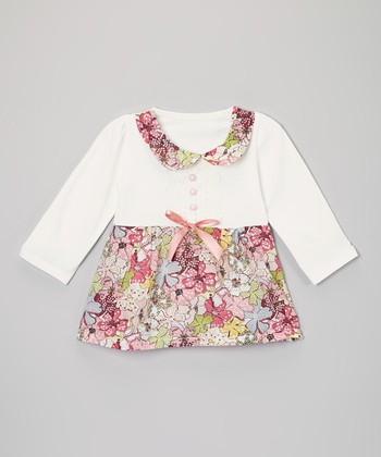 White Floral Babydoll Dress - Infant & Toddler