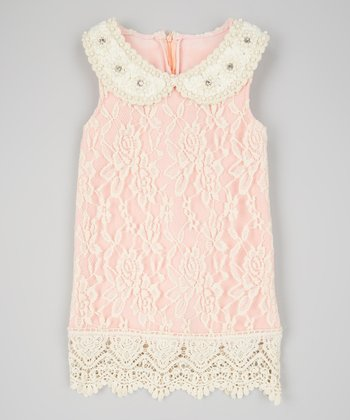 Ivory & Pink Lace Dress & Bib Necklace - Toddler & Girls