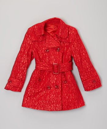Red Lace Belted Coat - Toddler & Girls