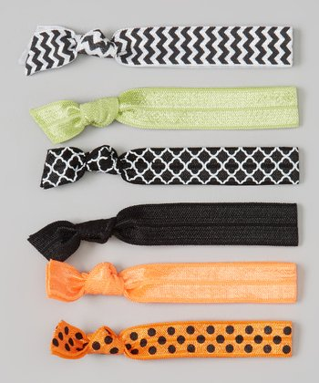 Black & Orange Polka Dot & Zigzag Hair Tie Set