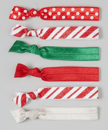 Red & Green Stripe Hair Tie Set