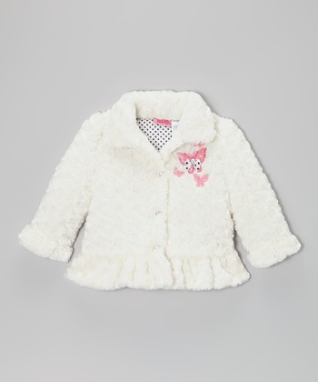 White Butterfly Faux Fur Ruffle Coat - Infant, Toddler & Girls