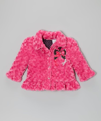 Pink Bow Faux Fur Ruffle Coat - Infant, Toddler & Girls