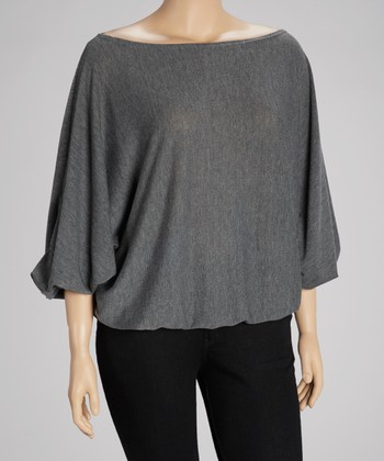 Heather Gray Ruffle Top - Plus