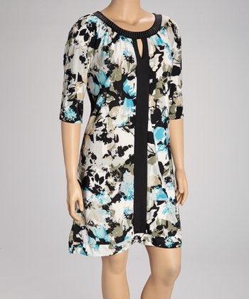 Black & Blue Floral Embellished Dress - Plus