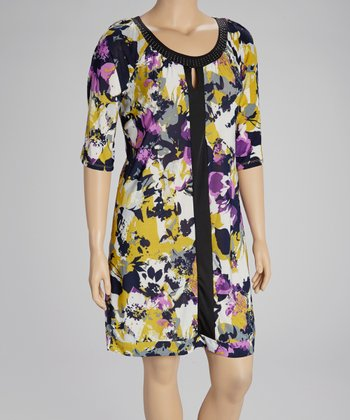 Black & Yellow Floral Embellished Dress - Plus