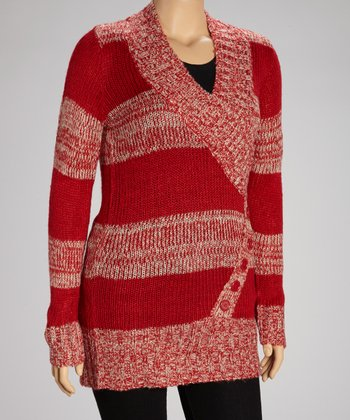 Chili Red & Cozy Tan Shawl Collar Sweater Tunic - Plus