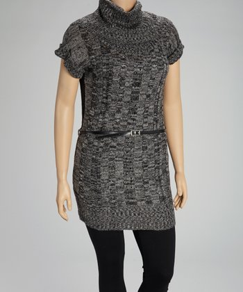 Smokey Gray & Black Sweater Tunic - Plus