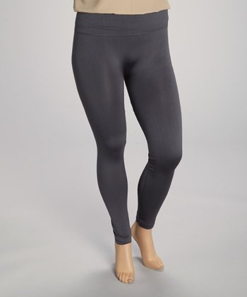 Charcoal Fleece-Lined Leggings - Plus