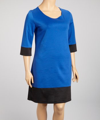Royal Blue & Black Color Block Dress - Plus
