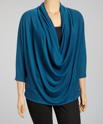 Blue Drape Top - Plus