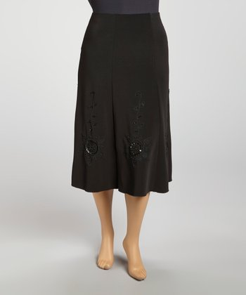 Black Gored Beaded Pull-On Skirt - Plus