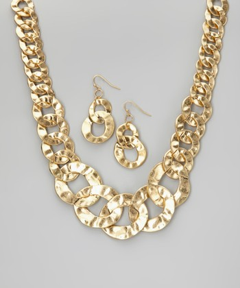 Matte Gold Necklace & Earrings
