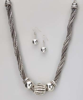Silver Bling Necklace & Earrings