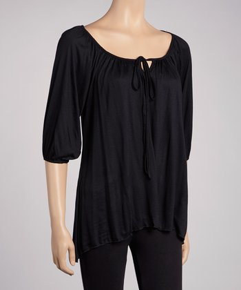 Black Three-Quarter Sleeve Peasant Top