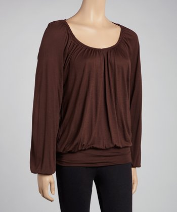 Brown Scoop Neck Peasant Top