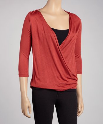 Rust Draped V-Neck Top
