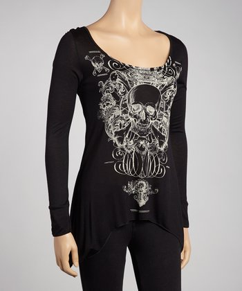 Black Skull Sidetail Tunic