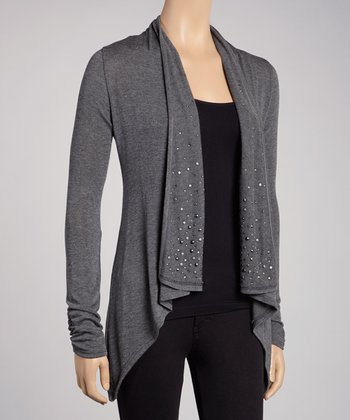 Gray Embellished Open Cardigan