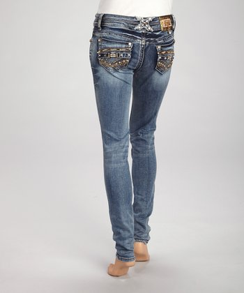 Light Blue Wash Embellished Denim Skinny Jeans
