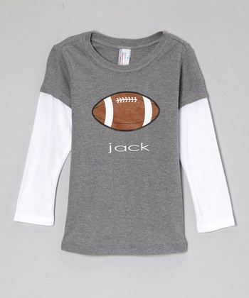 Gray Football Personalized Layered Tee - Infant, Toddler & Kids