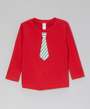 Red & Green Stripe Tie Tee - Infant, Toddler & Boys