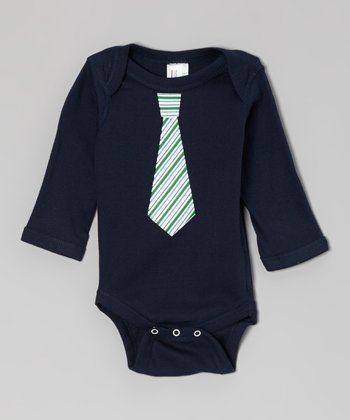 Navy & Green Stripe Tie Long-Sleeve Bodysuit - Infant