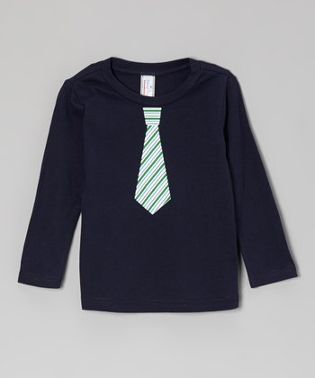 Navy & Green Stripe Tie Long-Sleeve Tee - Toddler & Boys