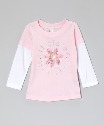 Pink Rhinestone 'Lil Sister' Layered Tee - Infant, Toddler & Girls
