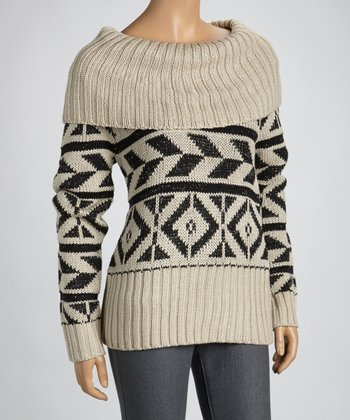 Beige & Black Aztec Cowl Neck Sweater